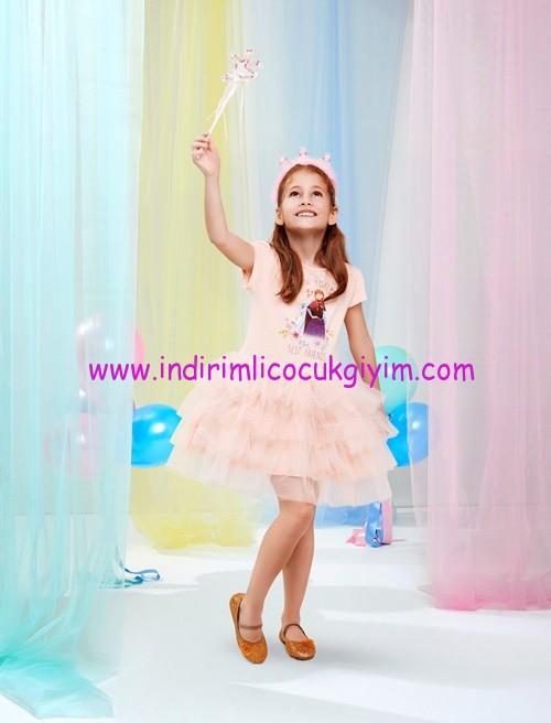 koton pudra frozen baskılı tül elbise-60 TL
