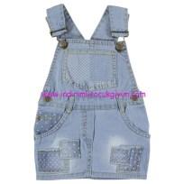 civil açık mavi kız bebek kot salopet elbise