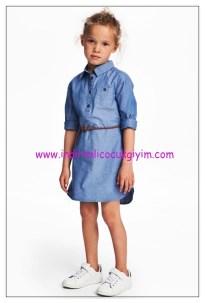 hm kız çocuk denim gömlek elbise