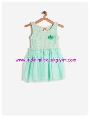 koton kız çocuk nane yeşili tütülü elbise