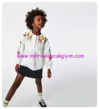 zara kabartmalı işleme tasarımlı kız çocuk bluz