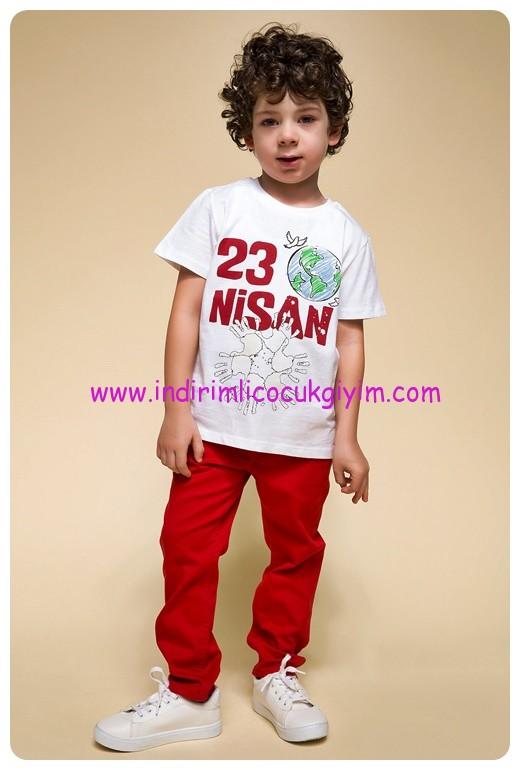 defacto erkek çocuk kırmızı 23 nisan takımı