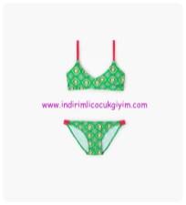zara kız çocuk yeşil çiçek desenli bikini-66 TL