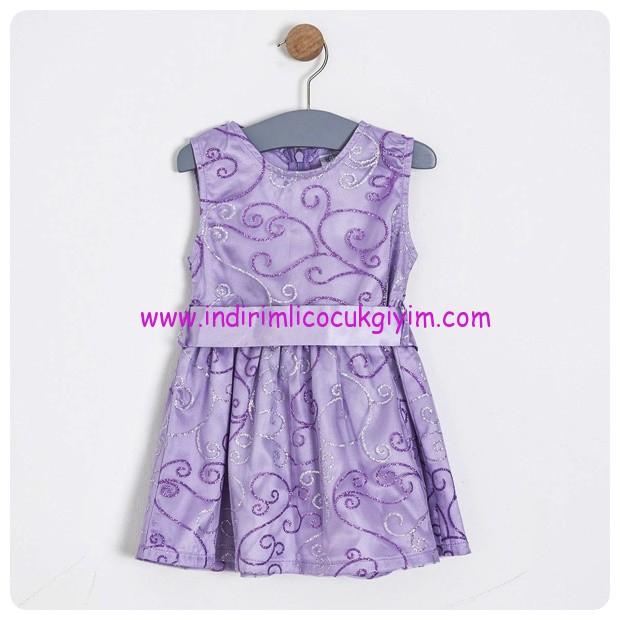 Soobe kiz cocuk lila kolsuz elbise-45 TL