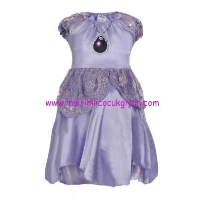 soobe kiz cocuk lila disney sofia romantic elbise-60 TL
