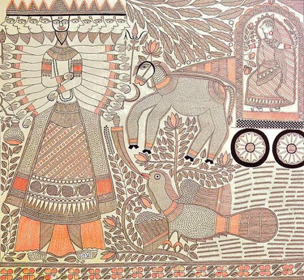 गंगा देवी द्वारा रामायण में रावण वध का चित्रण