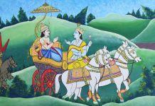 कुरुक्षेत्र में अर्जुन को गीता का ज्ञान देते श्री कृष्ण