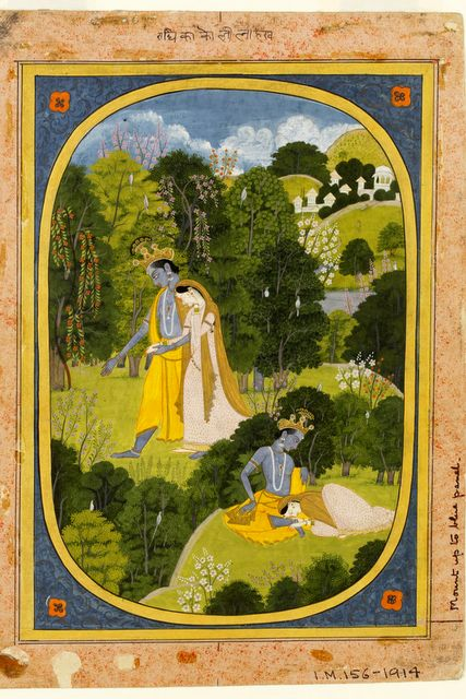 राधा कृष्ण रमण करते हुए , कांगड़ा शैली, ई 1820