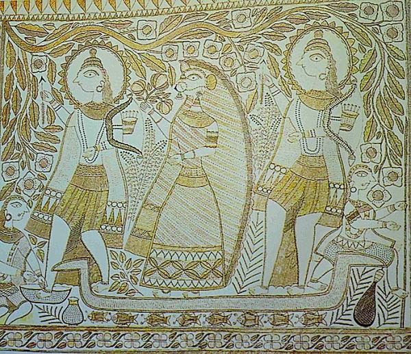 राम लक्ष्मण सीता का केवट के नाव पे जाना - मधुबनी चित्र गंगा देवी