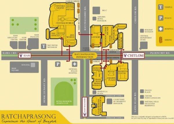 राचाप्रसॉन्ग भ्रमण  - बैंकॉक का मानचित्र