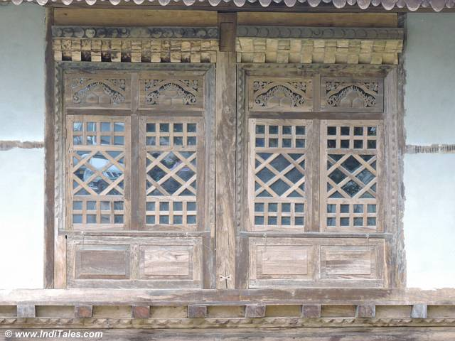 The woodwork of the Pemayangtse Buddhist monastery in Pelling