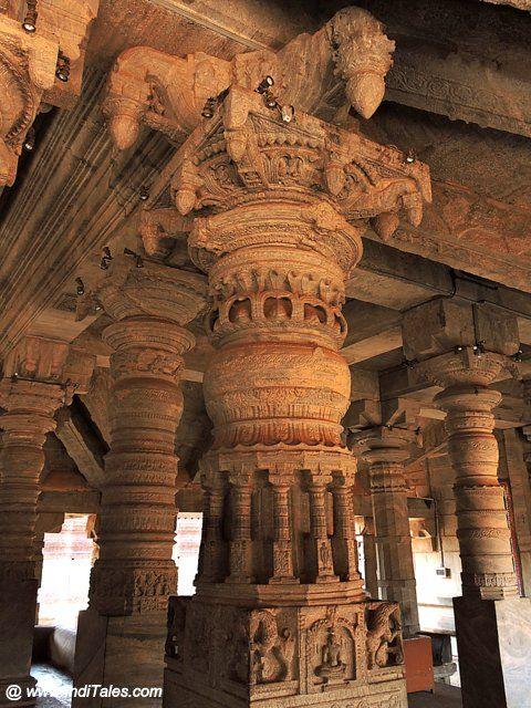१००० स्तम्भ मंदिर के स्तंभों पर महीन नक्काशी - मूडबिद्री