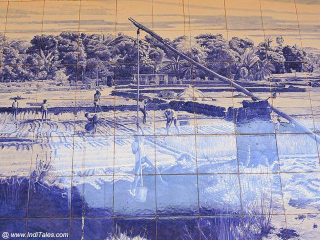 गोवा के सत एस्तेबान में अज़ूलेज़ो टाइलों से बना एक चित्र