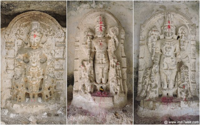 Vishnu statues in the enlightened stepwell