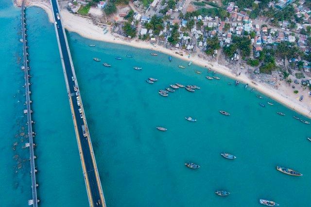 Rameswaram, Tamil Nadu, India - Pamban road and railway bridge aerial view