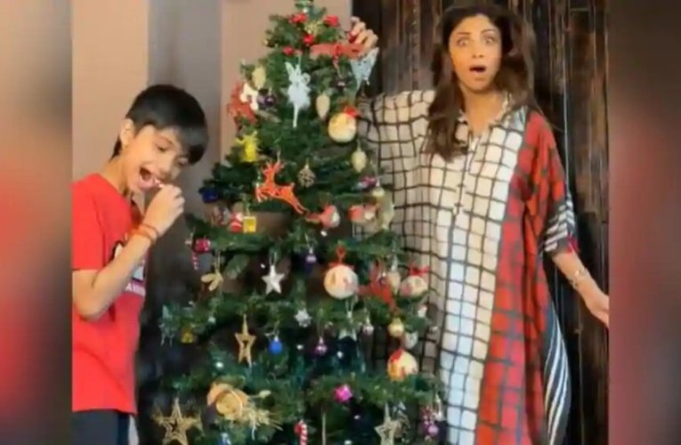 Shilpa Shetty's son Viaan sneakily eats candy cane as they decorate their Christmas tree together. Watch video