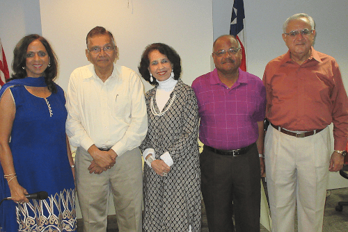 At the August meeting of Club 65, Vijay Shah (second from left) shared his secrets for a comfortable retirement. He posed with Club 65's executive Committee, (from left) Rahat Kale, Paru McGuire, President; Latafath Hussain and Fateh Ali Chatur.