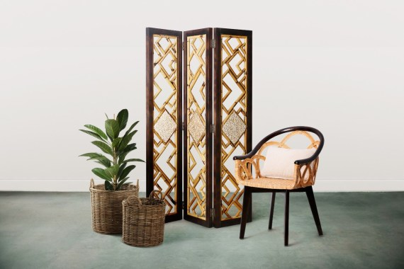 Natural Wooden Rattan Divider Furniture