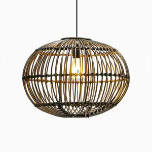 Sommerset Large Black Wash Hanging Lamp- Natural Rattan Pendant Lamp On