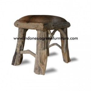 Doso Square Stool With Goat Leather