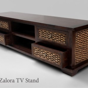 Zalora Wooden with wicker drawer TV Stand