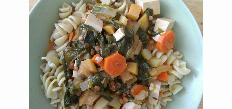 Pasta and lentil soup