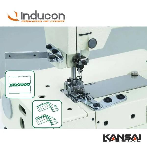 Foto de Máquina de coser picoeta Kansai PX302-5W con muestras de costura