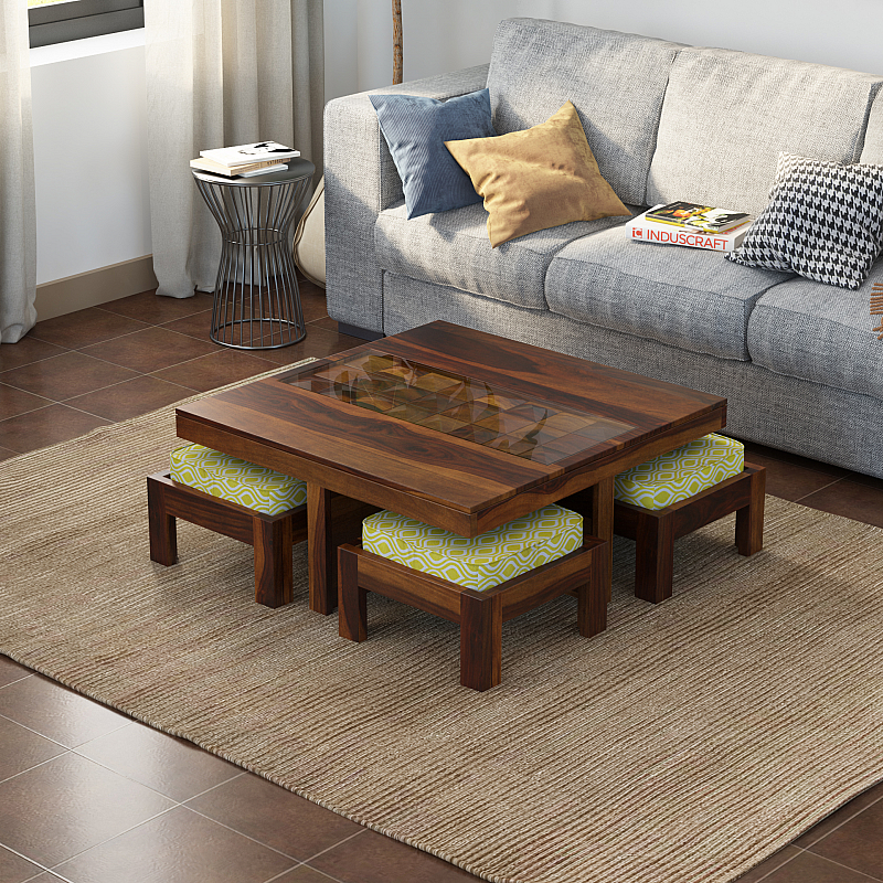 antilia diamond solid wood coffee table glass top four stool
