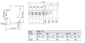White 63A MCB Three Phase Mini Circuit Breaker 4 Pole RCBO
