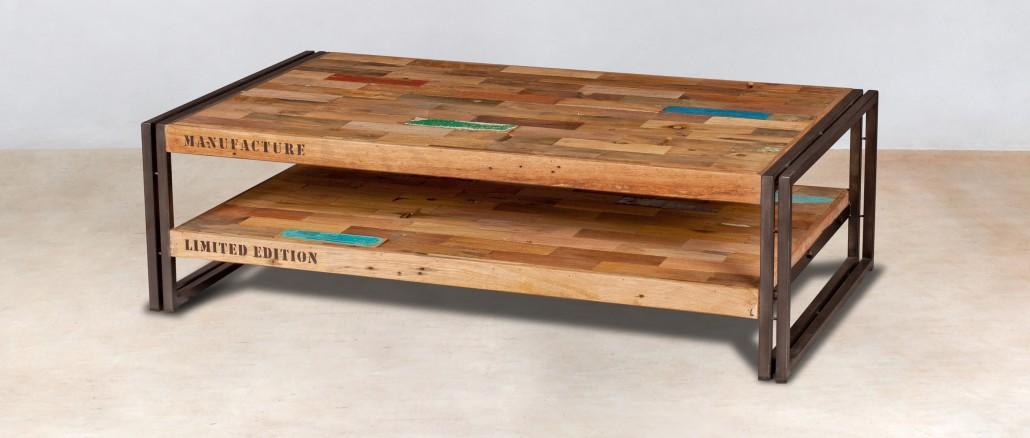table basse 2 plateaux en bois recycles de bateaux 120x70cm