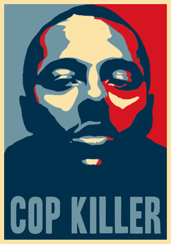 Lovelle Mixon's mug photo redone in the colors of Shepard Fairey's Barack Obama poster; but the President didn't have to rape a young girl and possibly several other women to get cred (Courtesy: East Bay Indymedia)