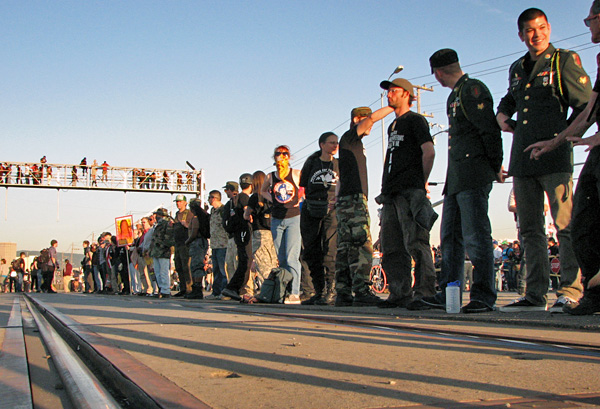 Veterans blockading the port.