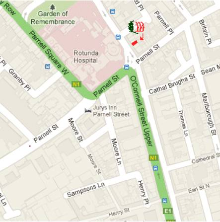 We are near intersection of Parnell & O'Connell Streets