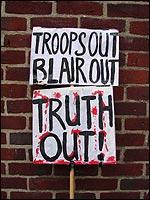 British Military Families Against the War placard