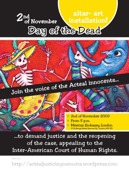 Leaflet of the Acteal event at Mexican Embassy 2009