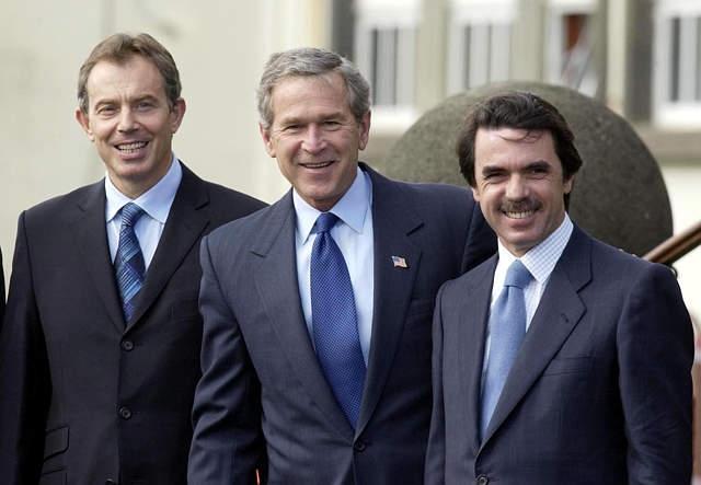 Tony Blair, George Bush and Jose Maria Aznar at the Azores Summit, 16 March 2003