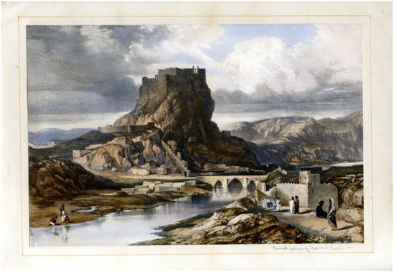 "Mehmûdîyan Mirliğinin merkezi ve şairlerin destek bulduğu Hoşap Kalesi. Robert H. Clives; ""Sketches Between the Persian Gulf&Bleck Sea"", London 1852.jpg"