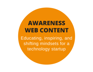 Web content to generate awareness and interest for a tech startup