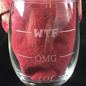 LOL-OMG-WTF 15 oz Stemless Funny Wine Glass