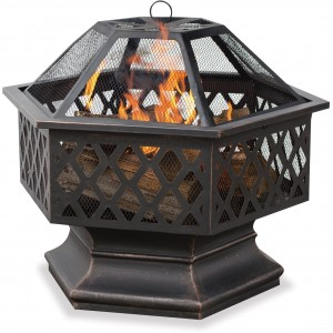 Hex Shaped Outdoor Fire Bowl with Lattice
