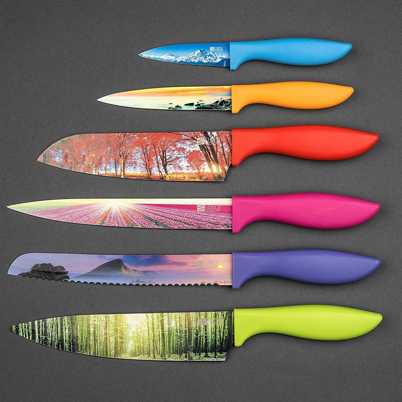 6 Piece Color Landscape Kitchen Knife Set in Luxury Gift Box