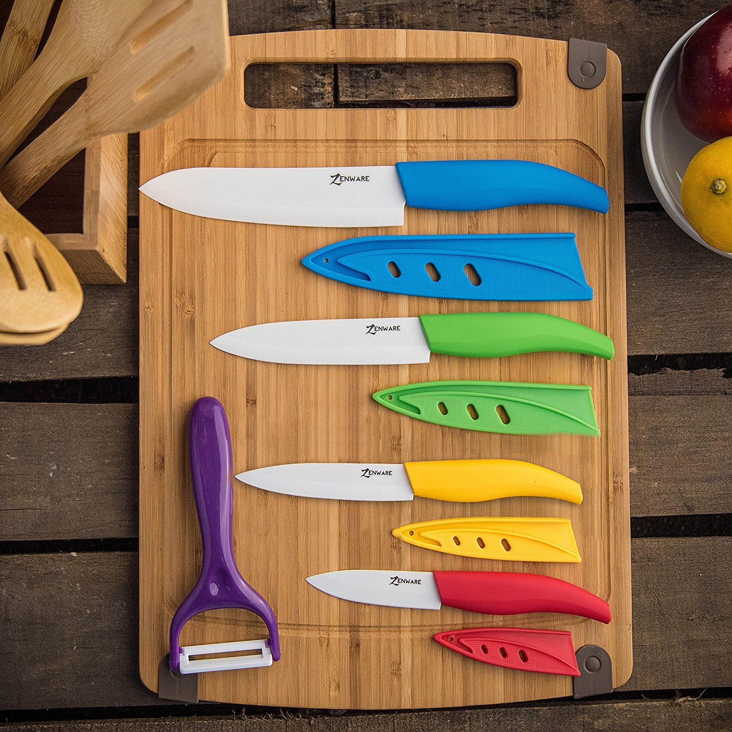 ZenWare 9 Piece Multi Color Ceramic Cutlery Kitchen Knives