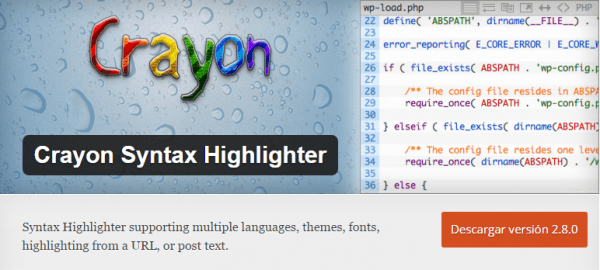 Plugin Crayon Syntax Highlighter para WordPress