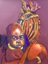Himba mother and child, pastel on paper
