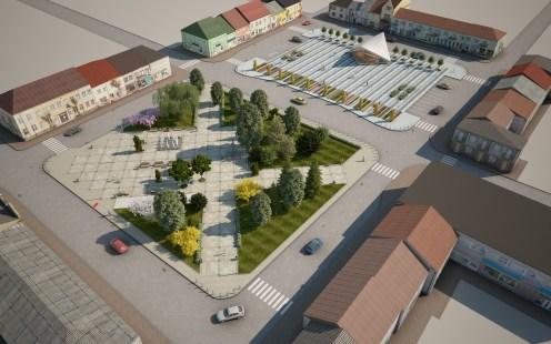 Budynek pawilonu i oświetlenie terenu, Rynek w Makowie Mazowieckim