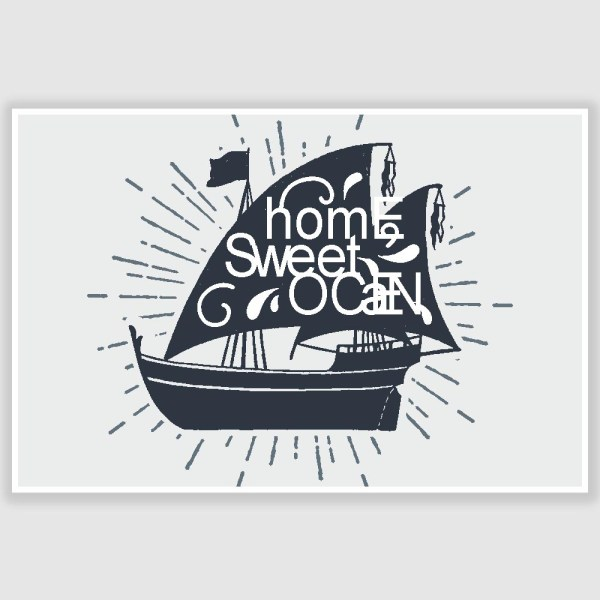 Home Sweet Ocean Inspirational Poster (12 x 18 inch)