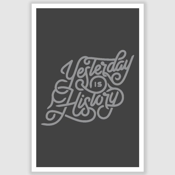 Yesterday Is History Inspirational Poster (12 x 18 inch)