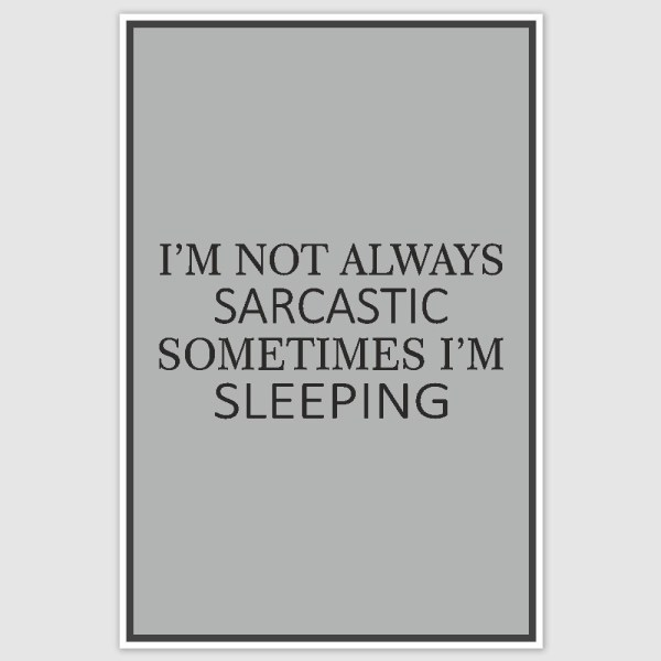 Sarcastic Funny Poster (12 x 18 inch)
