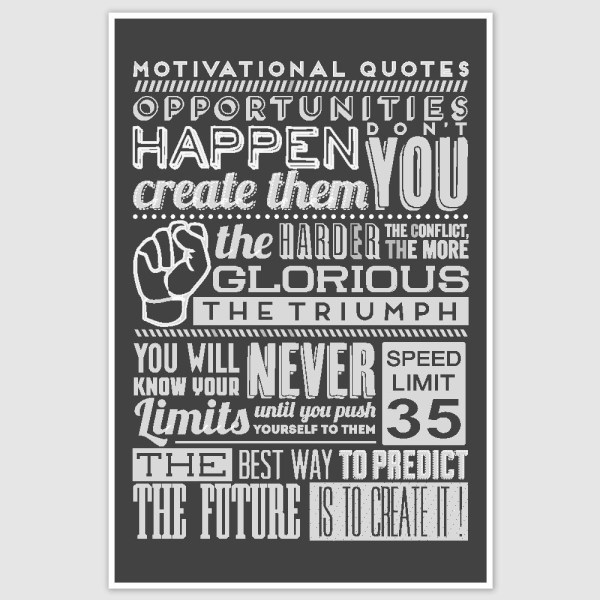Motivational Quotes Typography Poster (12 x 18 inch)