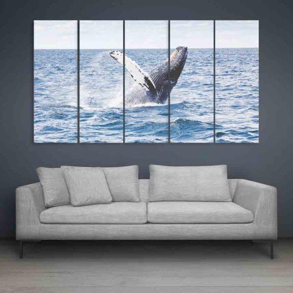 Multiple Frames Beautiful Fish In Ocean Wall Painting (150cm X 76cm)